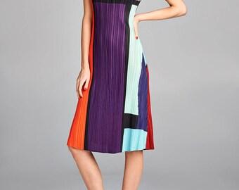 Multi Q Color Block Pleated Dress