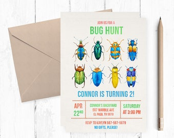 Bug Birthday Invitation, Insect Invitations, Insects Invitation, Bugs Invitations, Bugs Birthday Party, Bugs themed party, bug hunt, bugging