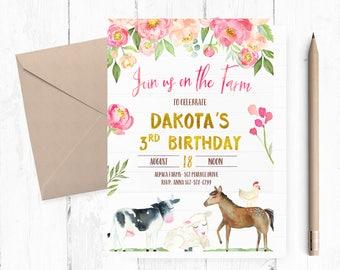 Farm Birthday Invitation, Farm Birthday Invitation, Farm Birthday Party, Farm Invites, Farm Invite, Farm Party invites, Farm Party invite,