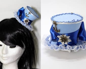 Mini hat Blue sailor mad hatter harajuku cosplay lolita gothic