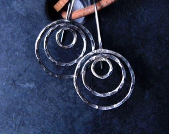 Circle Earrings, Hoop Earrings Circles, Oxidized Silver Handmade Earrings, Artisan Circle Earrings, Circle Hoops, Three Circles Earrings