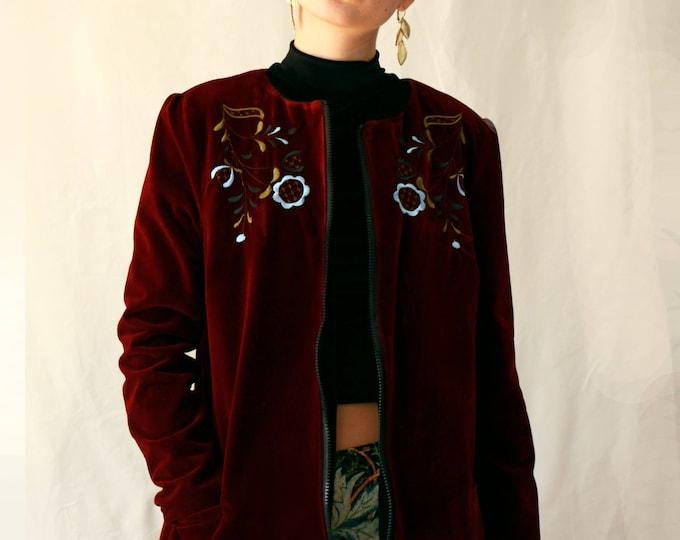 Embroidered velvet coat
