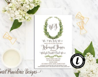 Printable Rehearsal Dinner Invitation Suite /Rehearsal Dinner Invite Set/ Simple Laurel Wedding Invitation /Editable Rehearsal Invite