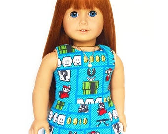 Tank Top, Reversible, Super Mario Brothers, Turquoise Blue, Green, Red, Yellow, White, American, 18 inch Doll Clothes, Summer