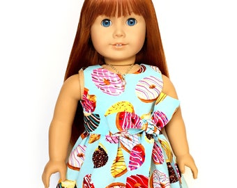 Sleeveless Dress, Donuts, Sweet Treats, Sash, Blue, Yellow, Pink, Brown, White, American, 18 inch Doll Clothes