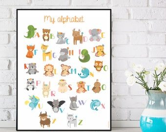 Alphabet poster, Alphabet letters, Children poster, Kids room decor, Alphabet print, Alphabet wall art, Children gift, Nursery alphabet