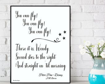 Second star to the right quote, Peter Pan You can fly, Peter Pan print, Disney quote, Disney print, Kids room wall decor, Nursery wall Decor