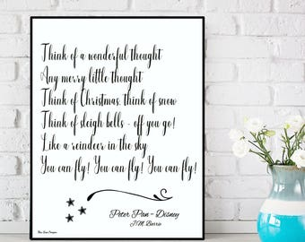 Peter Pan You can fly quote, Peter Pan print, Disney quote, Disney print, Kids room decor, Nursery wall Decor, Nursery print, Disney poster