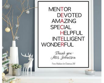 Teacher Christmas gift, Personalized teacher gift, Preschool teacher Christmas gift, Holiday teacher gift, Custom teacher gift
