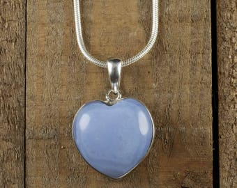 3.25cm CHALCEDONY Heart Pendant - Sterling Silver, Chalcedony Pendant, Blue Chalcedony Necklace, Chalcedony Jewelry, Heart Necklace J1112