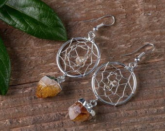 CITRINE Crystal Dream Catcher Earrings - Plated Silver Earrings Citrine Crystal Point Earrings, Citrine Earrings, Crystal Earrings E0546