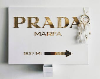 Prada Marfa canvas gold, prada marfa sign, gossip girl, wall modern art, wall decor, interior decor, fashion home decor, mirror gold, canvas