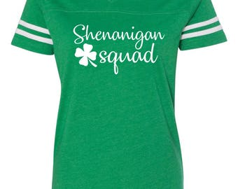 Shenanigan Squad, Drinking shirt, Ladies v-neck tee, St. Patricks day shirt, St. Patricks day, Shenanigans shirt, Shenanigans tee