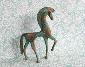 1950's Greek Souvenir Bronze Horse - Stylised with etched design - Athena Goddess of Wisdom Horse - Mid Century Metal Ornament