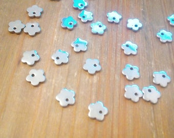 20 charms 6mm stainless steel flower