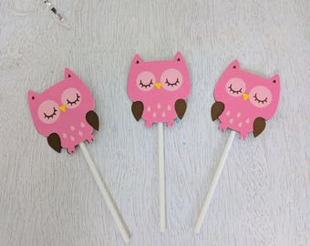 Owl Cupcake Toppers, Pink Owl Cupcake Toppers, Wildlife Party, Woodland Birthday, Owl Birthday, Baby Shower