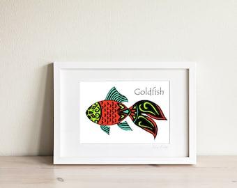 Goldfish Art Print, Goldfish Art, Fish Art, Fish Print, Fish Drawing, Ocean Art, Nautical Art, Kids Art, Kids Prints