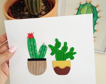 Art Paperlover,Cactus,Succulent,Handmade Cards,Paper Collage,Botanical Art,Paper plants,Paper Flowers,Art Collectibles,Mixed Media Collage