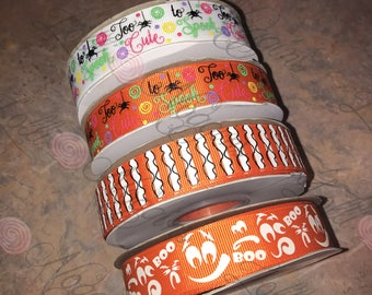 "Too Cute to Spook   Halloween   USDR 7/8"" ribbon   Coordinated grosgrain set for bows and crafts"