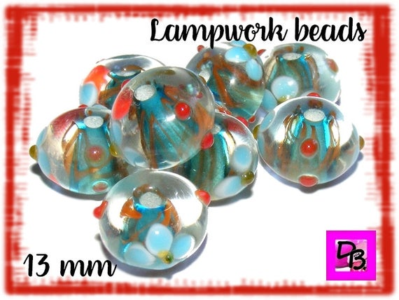 Perle lampwork [crystal/azore] 13 mm