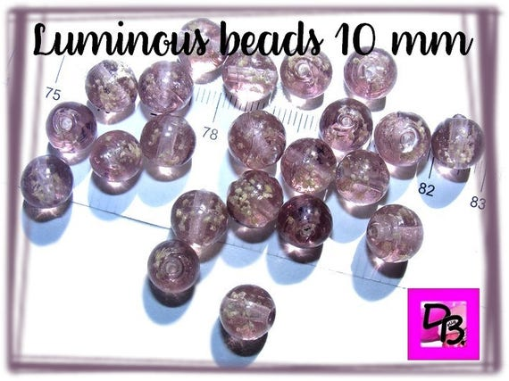 10 perles luminous  [plum] 10mm