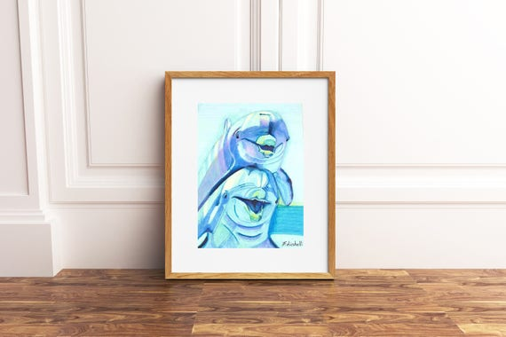 Dolphins illustration, Original drawing by Francesca Licchelli. One of a kind. Baby Shower gift. Child's bedroom decore. Nursery art.