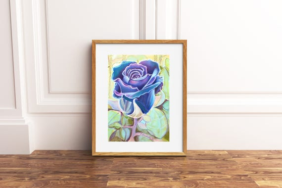 Black rose, original pastel by Francesca Licchelli, gift idea for roses and garden lovers, traditional home office decoration, wall art.