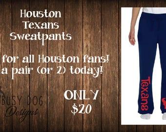 Houston Texans sweatpants, sports sweatpants, Houston Texans inspired sports team sweatpants.