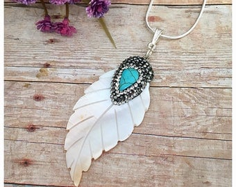 Leaf Pendant Necklace, Shell Necklace, Shell Jewelry, Pave Rhinestone Pendant, Shell Pendant, Leaf Jewelry