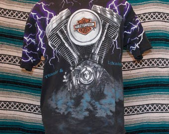 Vintage Harley Davidson Single Stitch Thunder & Lightning V Engine Shirt L Large