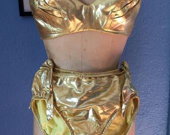 VLV 1950s 1960s GOLD Cole of California BIKINI
