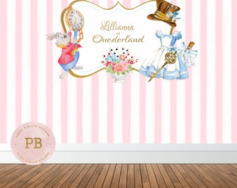 Digital Alice in Wonderland Backdrop, Alice in Wonderland Birthday Decor,Sweet Table, Baby Shower Decor, Girl Birthday, Girl Baby Shower