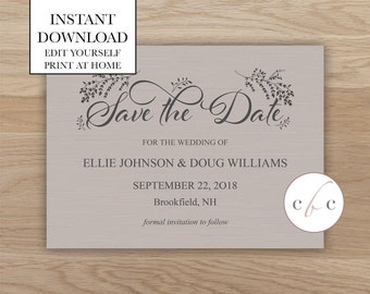 Diy save the date etsy diy save the dateinstant digital downloadtanrustic junglespirit Image collections