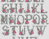 Antique Alphabet Monogram Cross Stitch Pattern Roses Alphabet Cross Stitch Chart PDF Floral ABC Downloadable In Stock Till May 25th