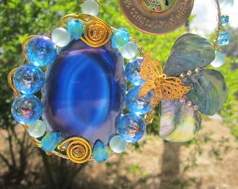 Patience Charm with Butterfly on Aqua Agate - Sun Catcher- #0026