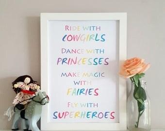Girl Adventure Print - Playroom Poster - Girls Bedroom Wall Art - Girls Adventure Nursery - Princess Print - Whimsical Wall Decor