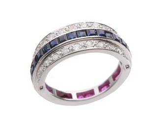 Art Deco Style Flip Ring with Sapphires Diamonds and Rubies set in 10 KT. White Gold