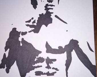 black and white drawing Bruce lee