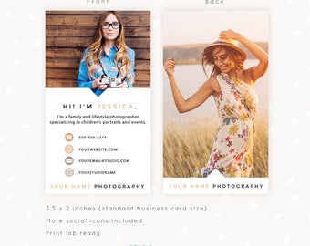 Photography Business Card Template, Vertical Business Card, Photoshop Template, Photo Business Cards, Social Contact, Photography Marketing