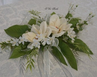 White Magnolia and Apple Blossom Wedding Centerpiece, Floral Table Centerpieces, White Wedding Decorations, White Floral Centerpieces