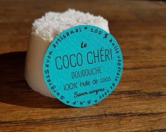 """Coconut honey Doudouche"", handmade soap 100% coconut oil and very emollient coconut fragrance"