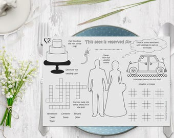 Kid wedding activity placemat, Colouring & Activities, A4