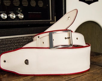 Shoulder strap Red padded leather guitar-low shoulder comfort strapping-art. White CADILLAC-Shoulder straps Etabeta-Made in Italy
