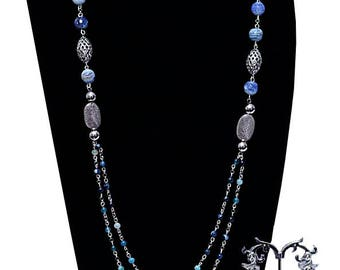 Women's long agate necklace set. 'Adaeze blue'