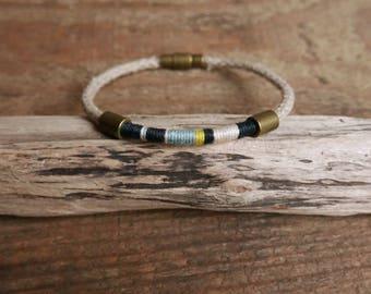 Nautical bracelet, Simple mens bracelet, Hemp rope bracelet gift for him, Cotton woven bracelet for mens, Christmas gift for father Gift