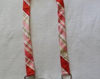 SALE***Coral Pink Striped Repurposed Belt Camera Strap