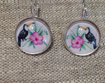 Earrings cabochon earrings - tropical - exotic flower - toucan - was