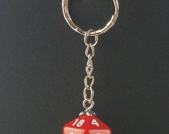 D20 Dice Dungeons & Dragons RPG Fantasy Solid Red Keychain