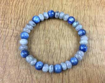 Gemstone Yoga Chakra Bracelet Blue Kyanite Labradorite Heal Gift Reiki 18cm 86A