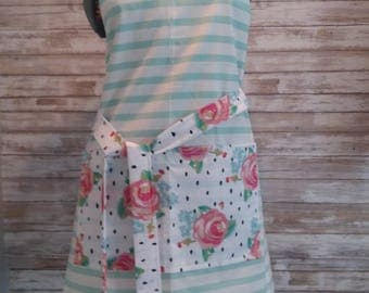 Stripe and floral design- mint green - Reversible
